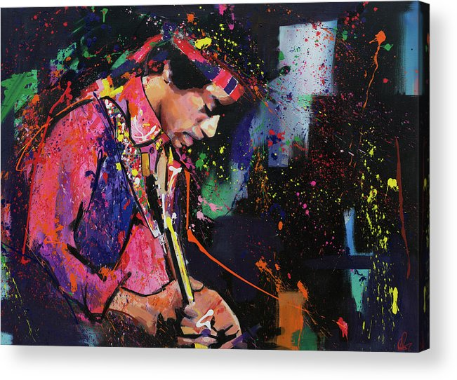 Jimi Acrylic Print featuring the painting Jimi Hendrix II by Richard Day