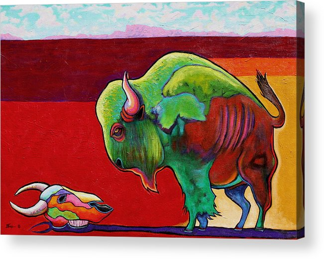 Wildlife Acrylic Print featuring the painting Lamenting the Leader by Joe Triano