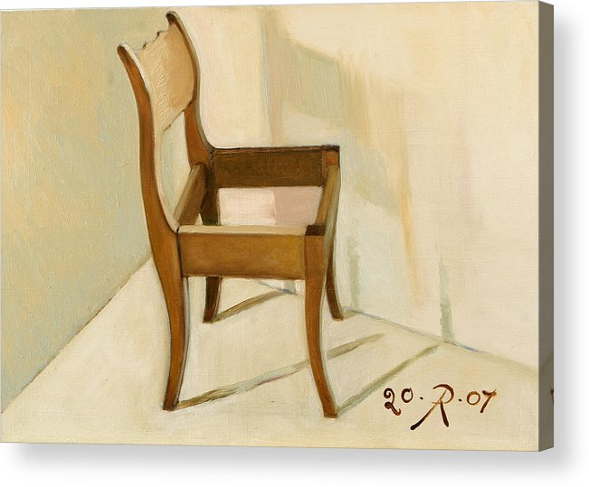 Still-life Chair Interior Light Brown Acrylic Print featuring the painting Late still-life by Raimonda Jatkeviciute-Kasparaviciene