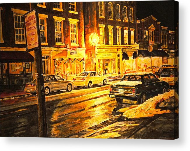 Street Scene Acrylic Print featuring the painting Lexington Street Light by Thomas Akers