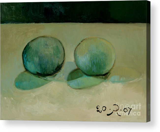 Still-life Reflection Pumpkins Acrylic Print featuring the painting Like in the rain by Raimonda Jatkeviciute-Kasparaviciene