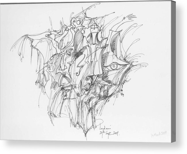 Forms Acrylic Print featuring the drawing Lines and forms by Padamvir Singh