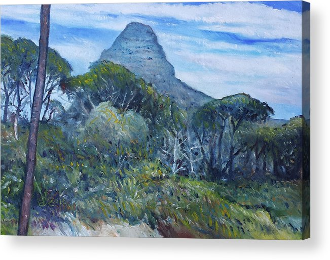 Impressionism Acrylic Print featuring the painting Lions Head Cape Town South Africa 2016 by Enver Larney