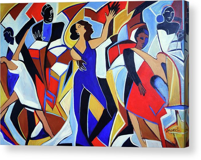 Dancers Acrylic Print featuring the painting Loco Caliente by Valerie Vescovi