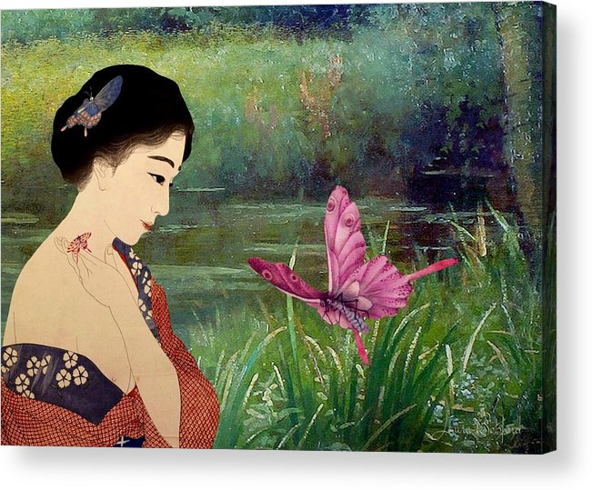 Japanese Acrylic Print featuring the digital art Loved By Butterflies by Laura Botsford