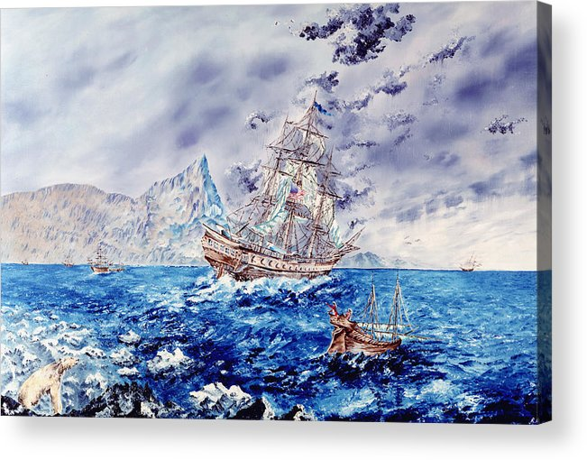 Tall Ships Acrylic Print featuring the painting Maiden Voyage by Richard Barham