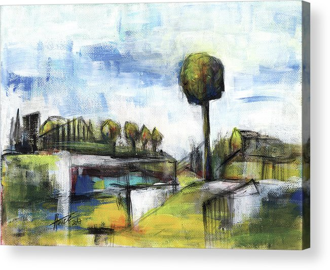 Landscape Acrylic Print featuring the painting Memories from the park by Aniko Hencz