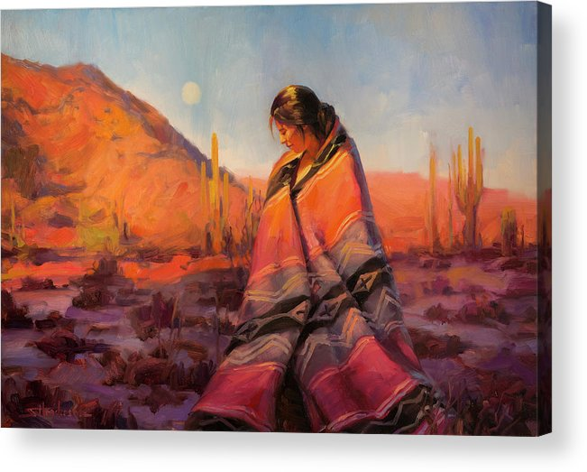 Southwest Acrylic Print featuring the painting Moon Rising by Steve Henderson