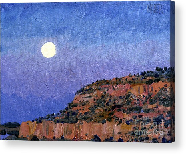 Moonrise Acrylic Print featuring the painting Moonrise Over Gallup by Donald Maier