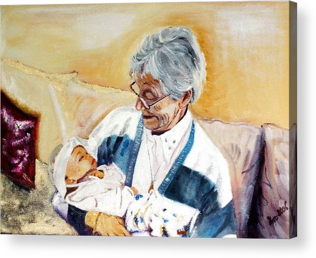 Portrait Acrylic Print featuring the painting my granddaughter Leonie with her great grandmum by Helmut Rottler
