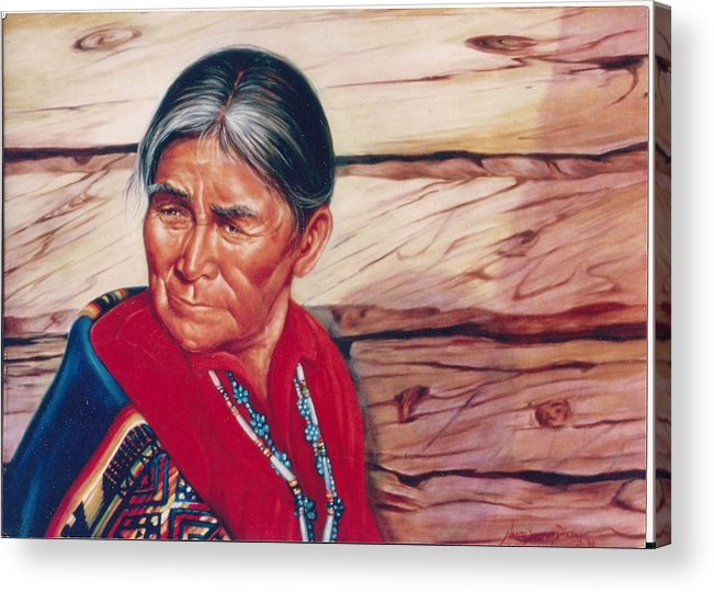 Native American Acrylic Print featuring the painting Navajo Woman by Naomi Dixon