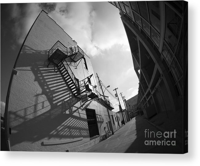 Black And White Acrylic Print featuring the photograph No escaping black and white by David Bearden