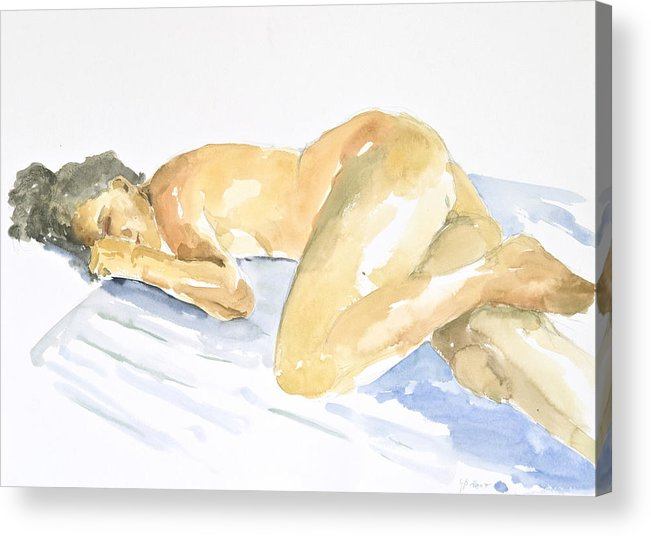 Sleeping Figure Acrylic Print featuring the painting Nude Serie by Eugenia Picado