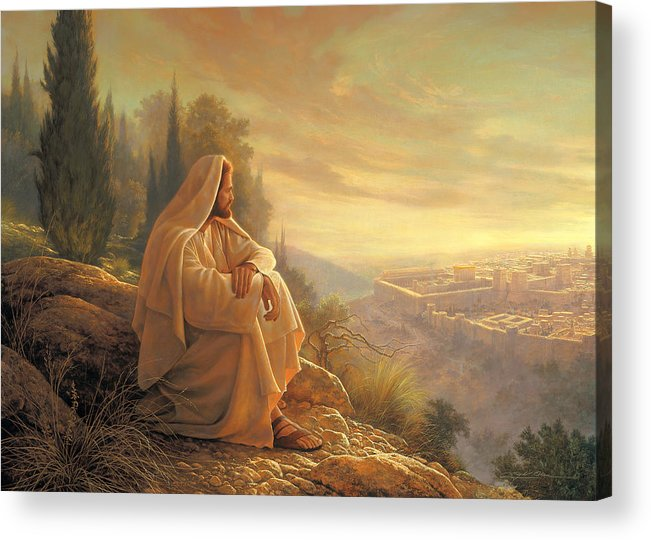 Esus Acrylic Print featuring the painting O Jerusalem by Greg Olsen