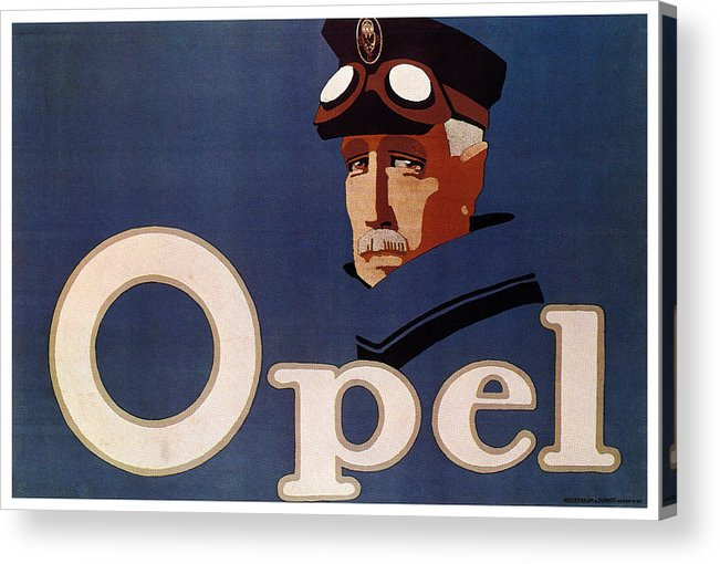 Opel Acrylic Print featuring the mixed media Opel - German Automobile Manufacturer - Vintage Automotive Advertising Poster - Minimal, Blue by Studio Grafiikka
