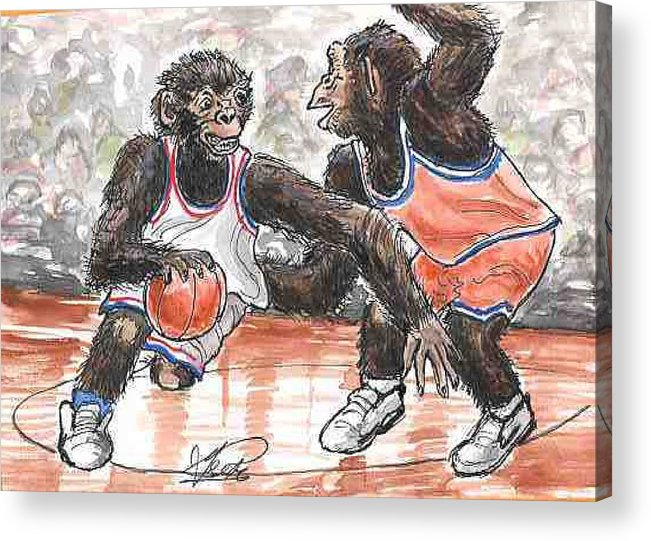 Basketball Acrylic Print featuring the painting Out of my Way by George I Perez