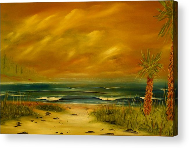 Sea Shore/palms/beach/skys Acrylic Print featuring the painting Palm Island by Lorenzo Roberts