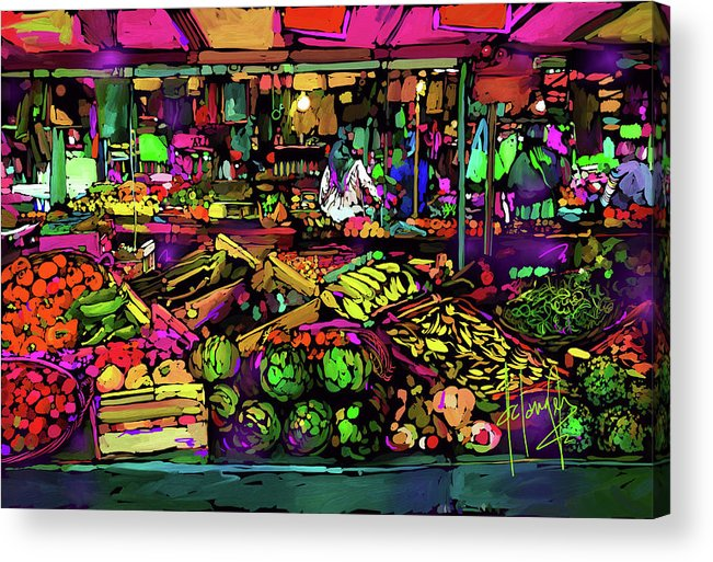 Paris Acrylic Print featuring the painting Parisian Market by DC Langer