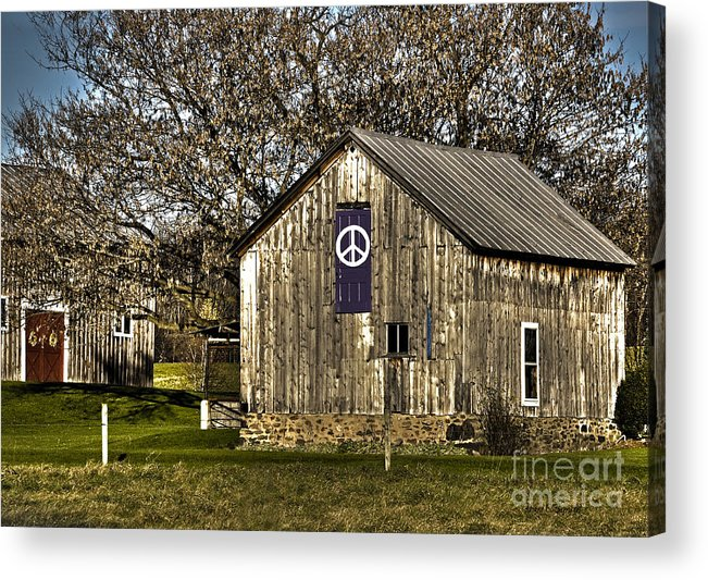 Diane Berry Acrylic Print featuring the photograph Peace Barn by Diane E Berry