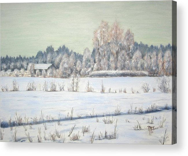 Winter Acrylic Print featuring the painting Peace of the winter by Maren Jeskanen