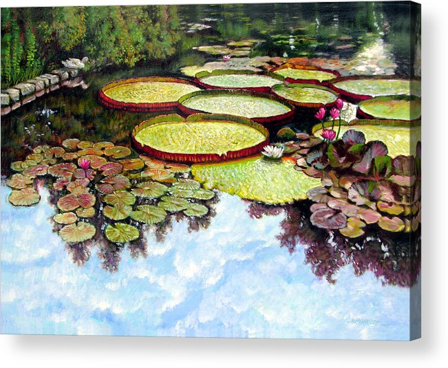 Landscape Acrylic Print featuring the painting Peaceful Refuge by John Lautermilch