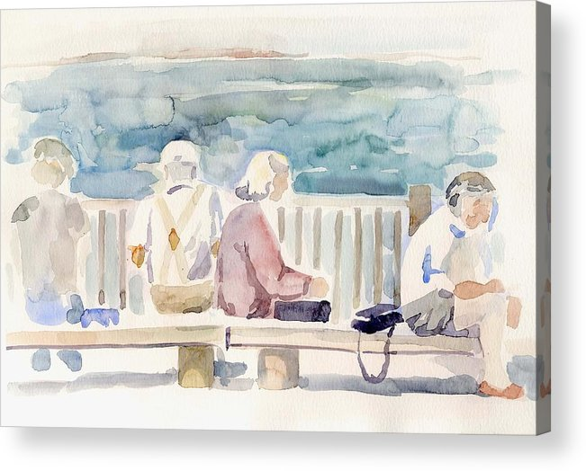 People Paintings Acrylic Print featuring the painting People on Benches by Linda Berkowitz