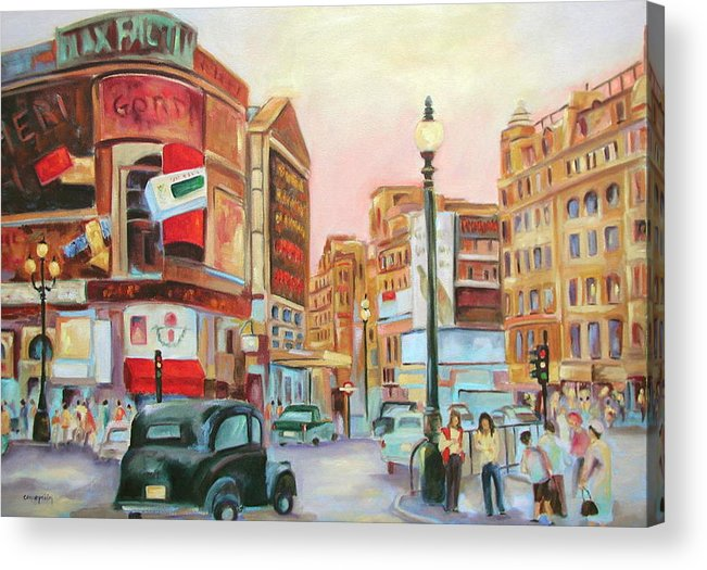 Cityscape Acrylic Print featuring the painting Picadilly by Ginger Concepcion