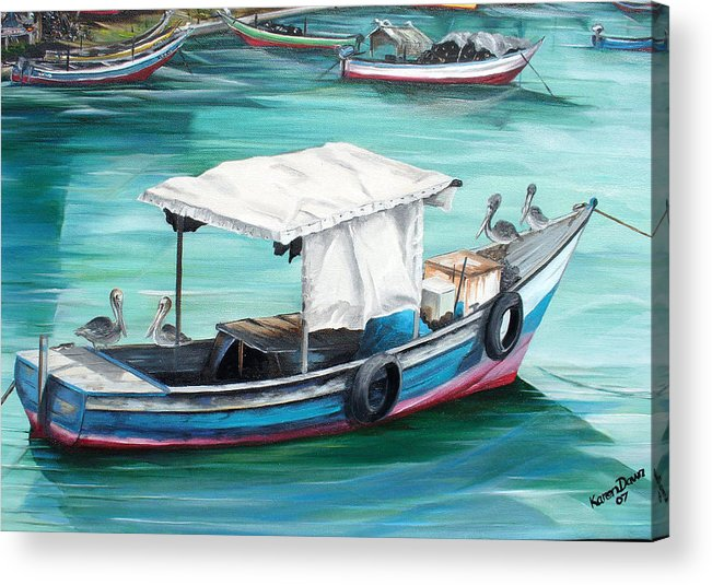 Fishing Boat Painting Seascape Ocean Painting Pelican Painting Boat Painting Caribbean Painting Pirogue Oil Fishing Boat Trinidad And Tobago Acrylic Print featuring the painting Pirogue Fishing Boat by Karin Dawn Kelshall- Best
