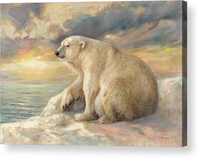 Polar Bear Acrylic Print featuring the painting Polar Bear Rests On The Ice - Arctic Alaska by Svitozar Nenyuk
