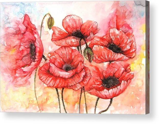 Flowers Acrylic Print featuring the painting Poppies Fantasy by Natalja Picugina