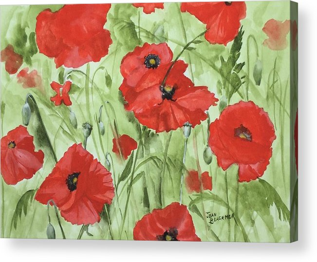 Red Acrylic Print featuring the painting Poppy Field 1 by Jean Blackmer