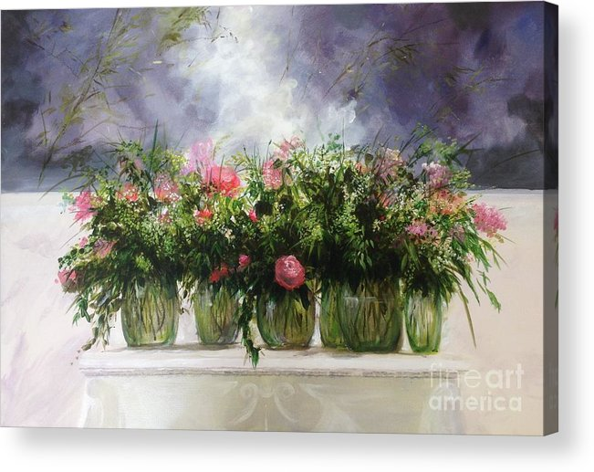 Still Life Acrylic Print featuring the painting Pretty Mantlepeace by Lizzy Forrester