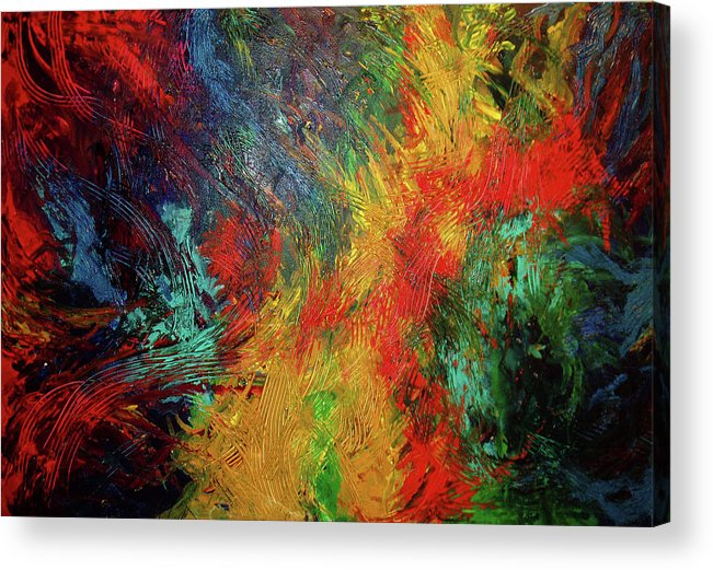 Abstract Acrylic Print featuring the painting Primary Abstract 3 by Nancy Mueller