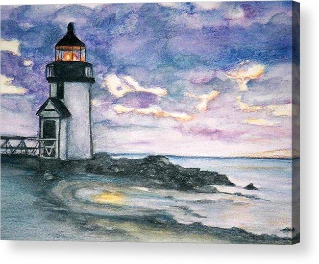 Nantucket Acrylic Print featuring the painting Purple Skies Over Nantucket by Debra Sandstrom