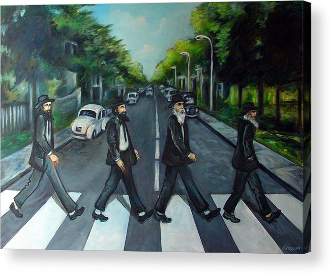 Surreal Acrylic Print featuring the painting Rabbi Road by Valerie Vescovi