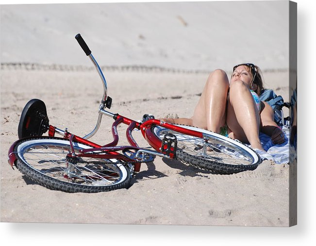Red Acrylic Print featuring the photograph Red Bike On The Beach by Rob Hans