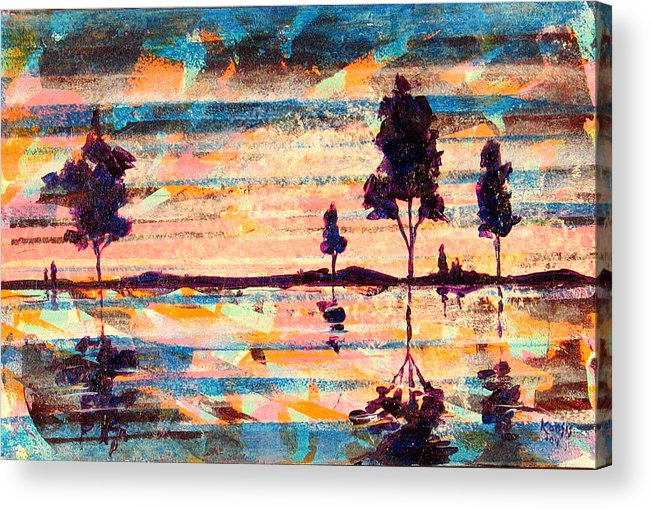 Water Acrylic Print featuring the painting Reflections by Rollin Kocsis