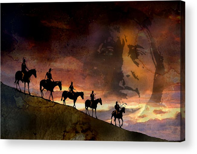 Native Americans Acrylic Print featuring the painting Riding Into Eternity by Paul Sachtleben