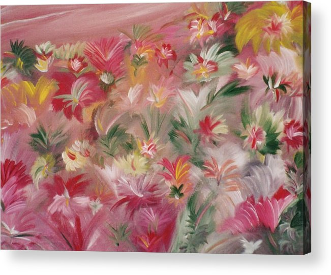 Flowers Acrylic Print featuring the painting Rosa Bluetenmeer by Michael Puya