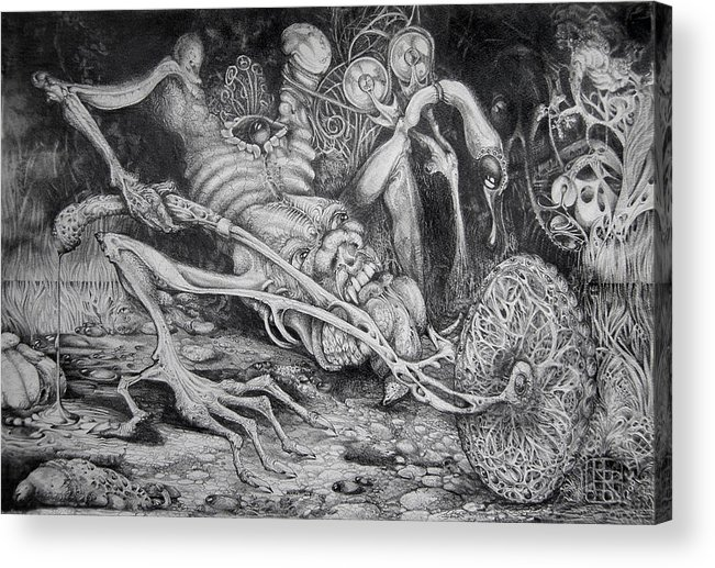 Surrealism Acrylic Print featuring the drawing Selfpropelled Beastie Seeder by Otto Rapp