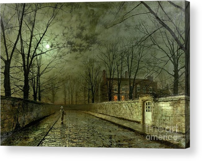 Silver Moonlight Acrylic Print featuring the painting Silver Moonlight by John Atkinson Grimshaw