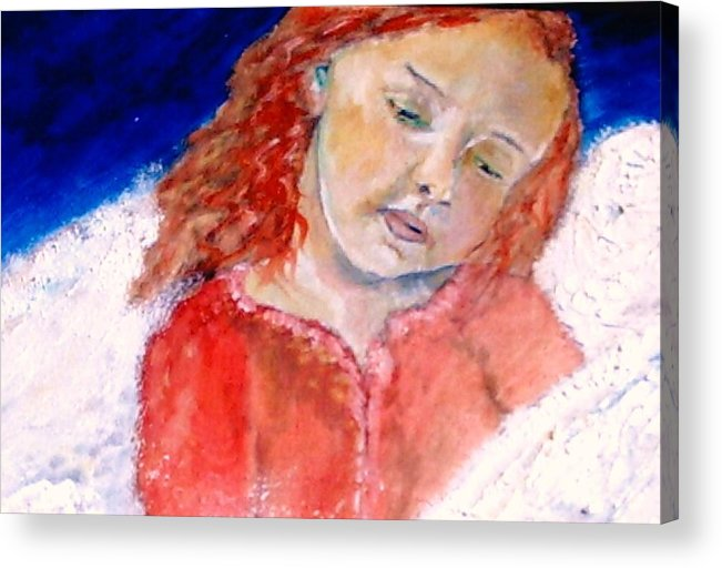 Angels Acrylic Print featuring the painting watching the Dreamers by J Bauer