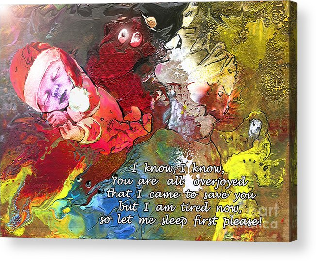 Messiah Painting Acrylic Print featuring the painting Sleepig Messiah by Miki De Goodaboom