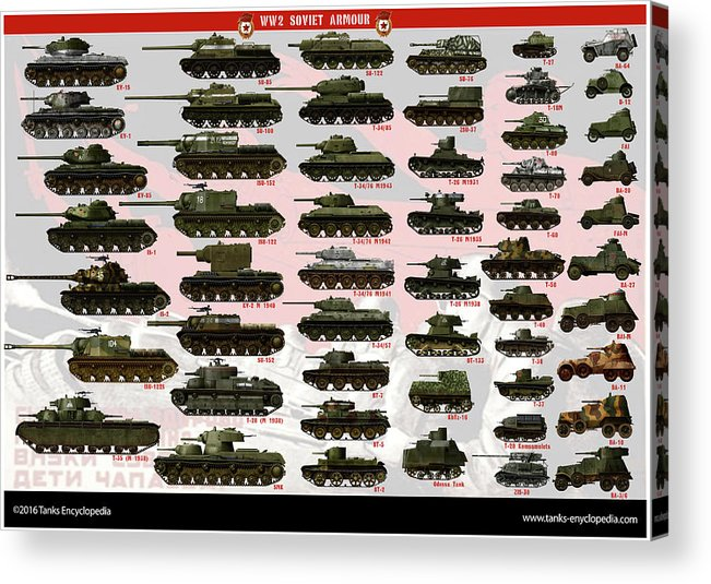 Soviet Acrylic Print featuring the digital art Soviet Tanks ww2 by The collectioner