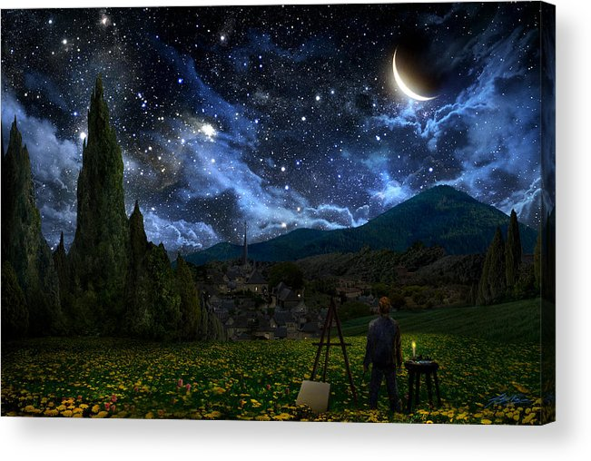 Van Gogh Acrylic Print featuring the digital art Starry Night by Alex Ruiz