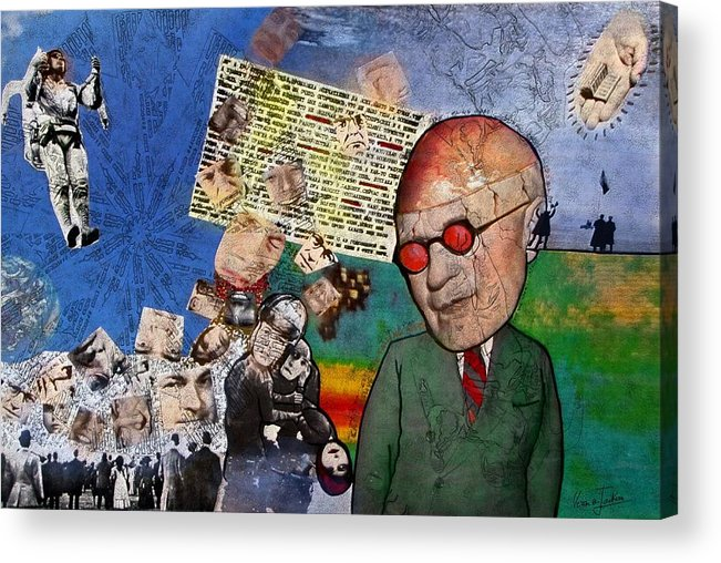 Collage Acrylic Print featuring the digital art Strange how these mortals so loudly complain of the gods by Veronica Jackson