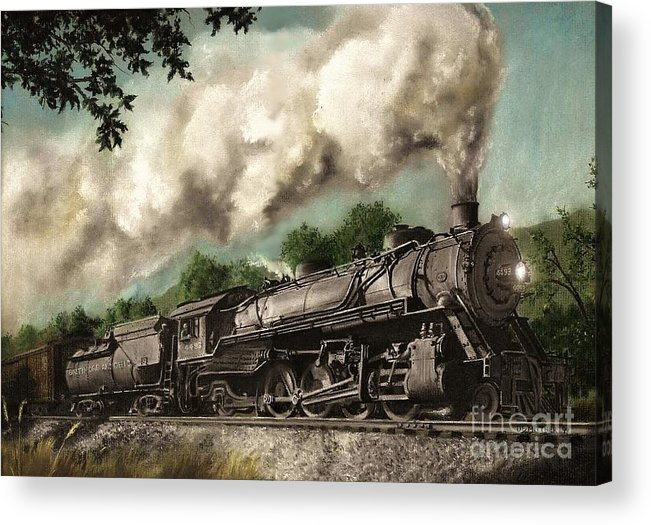 Baltimore & Ohio Railroad B&o Q4 Train Painting Railroad Maryland And Pennsylvania Autumn Fall Colors Steam Engine Acrylic Print featuring the painting Sunday Drive by David Mittner