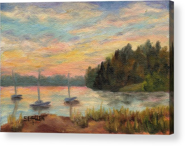 Sunset Acrylic Print featuring the painting Sunset Over Massabessic by Sharon E Allen