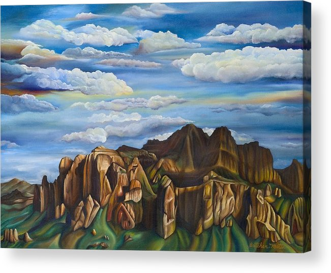 Landscape Acrylic Print featuring the painting Superstition View by Gretchen Matta