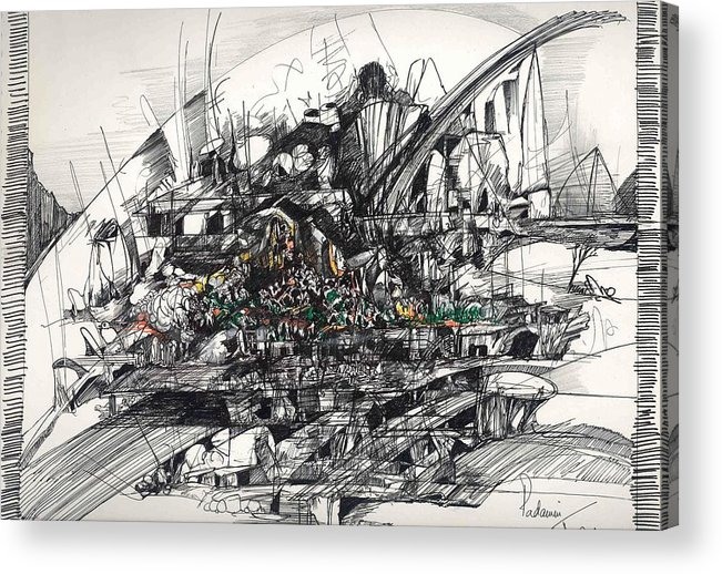 Roads Acrylic Print featuring the drawing Surrealscape 2 by Padamvir Singh